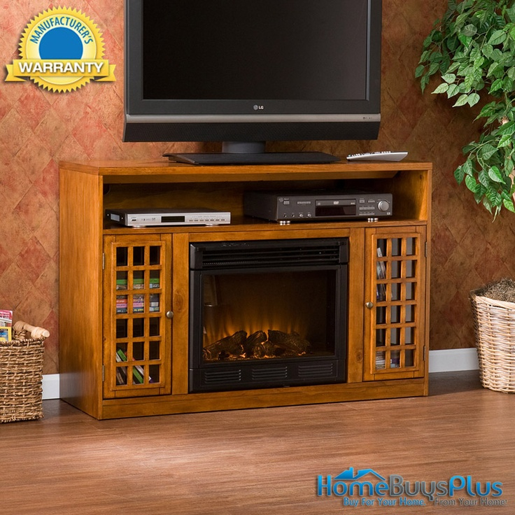 Narita Media Glazed Pine Electric Fireplace Flat Screen Tv Stand. $649.99