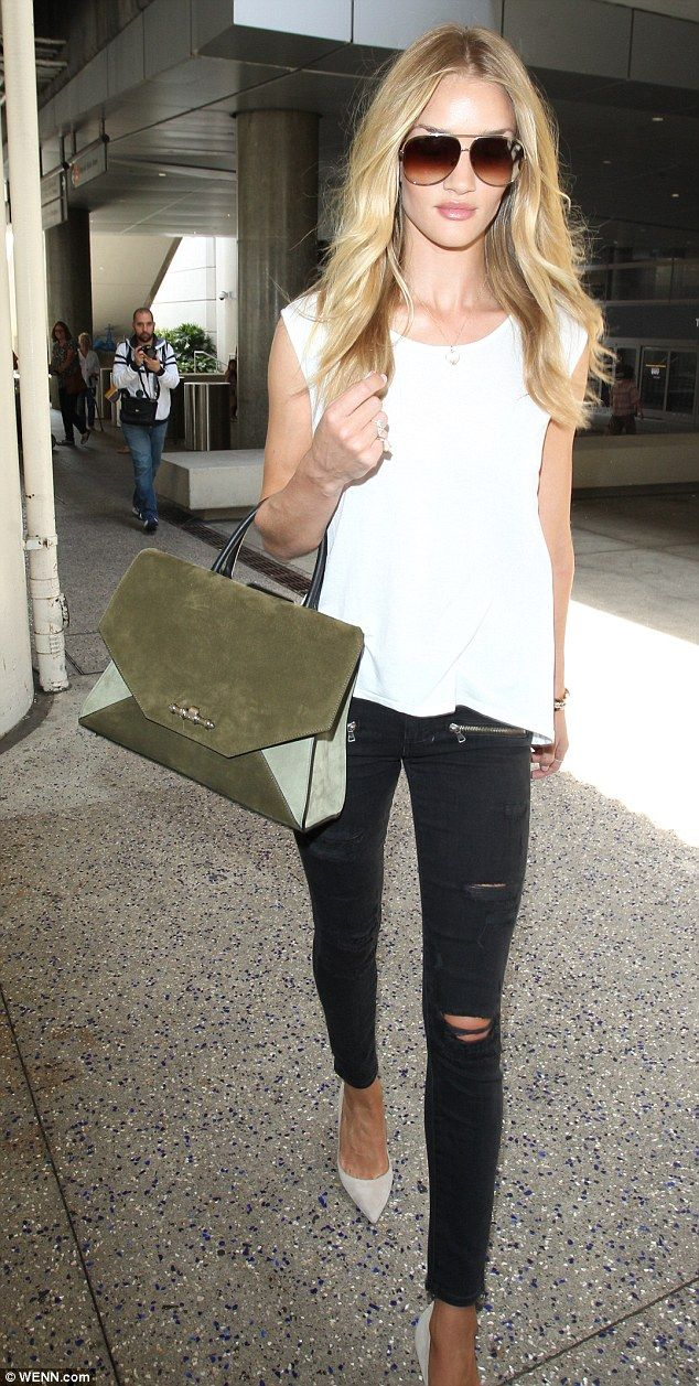 Rosie Huntington-Whiteley Lands At LAX In Ripped Black Skinny Jeans | Style Skinny Jeans And ...