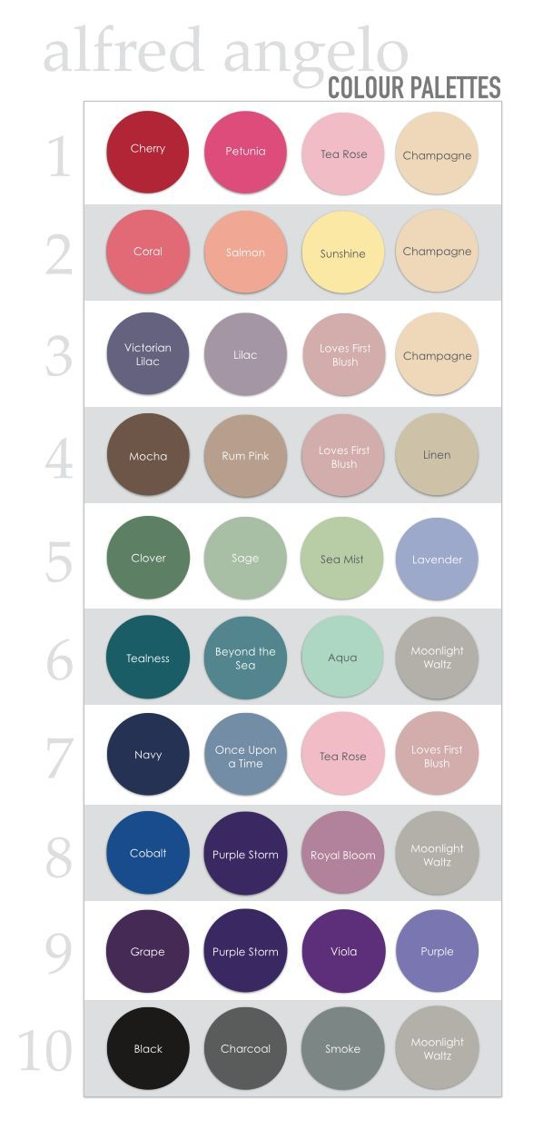 Alfred Angelo colour / color palettes for wedding inspiration. 62 colors to mix and match!