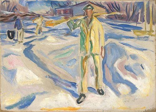 Edvard Munch – Trabalhadores de Construção na Neve, 1920