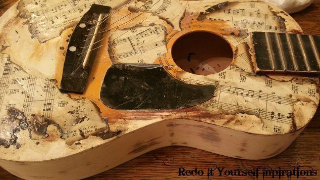 Upcycled Guitar: Americana Style Decoupage   Hometalk