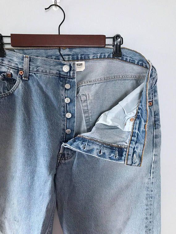 Vintage 90s Levis 501 button fly jeans Light wash denim