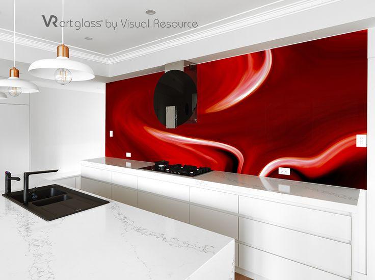 Aptly named Colour Splash this artwork transforms the kitchen. VR Art Glass splashback by Visual Resource