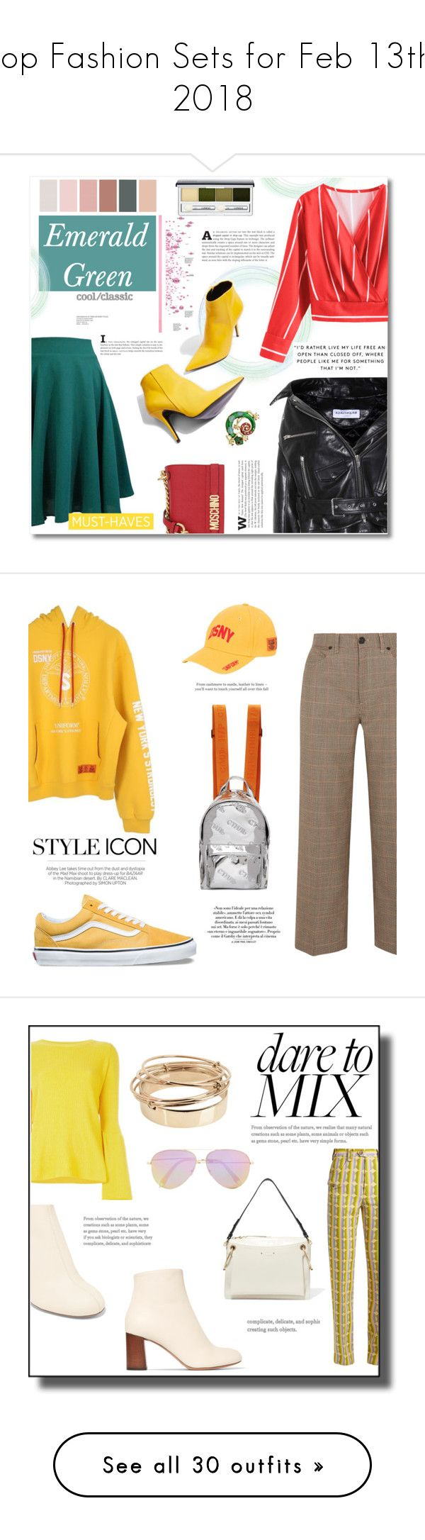 """Top Fashion Sets for Feb 13th, 2018"" by polyvore ❤ liked on Polyvore featuring Topshop, Balenciaga, Moschino, Clinique, modern, rag & bone, Heron Preston, Vans, Kershaw and Vanity Fair"