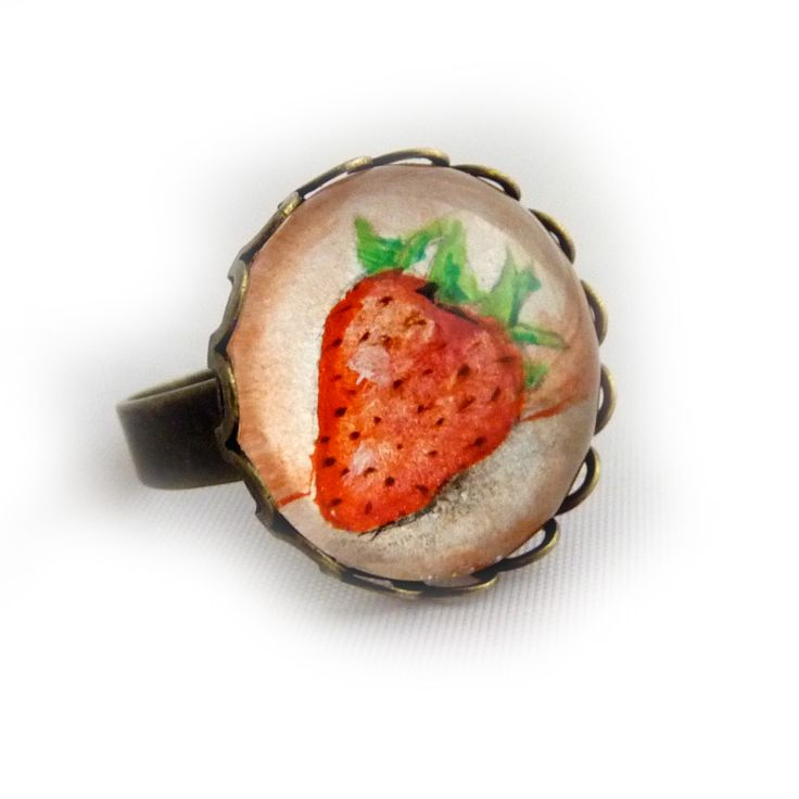 strawberry – ring painted with a hand