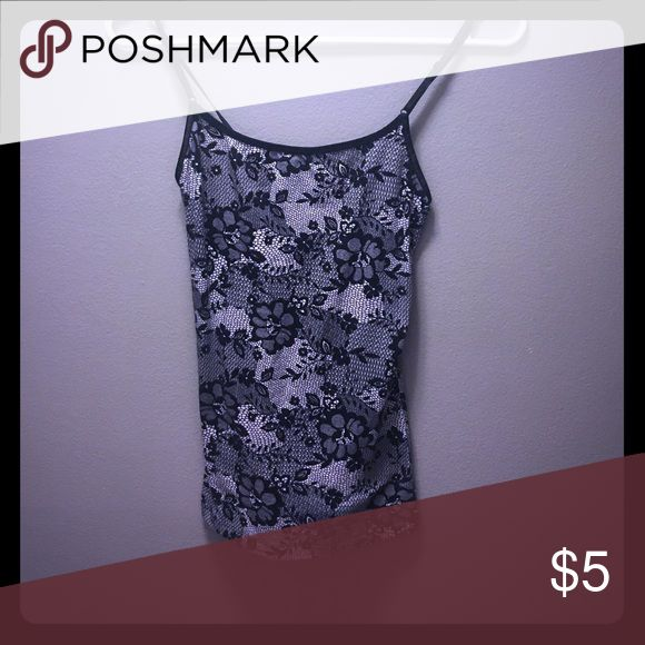 Black and gray floral cami Ambiance Apparel Size M Black and gray floral cami fits like small or XS even soft stretchy material great under a sheer black top Ambiance Apparel Tops Camisoles