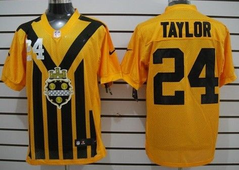 Men's Pittsburgh Steelers #24 Ike Taylor 1933 Yellow Throwback Jersey