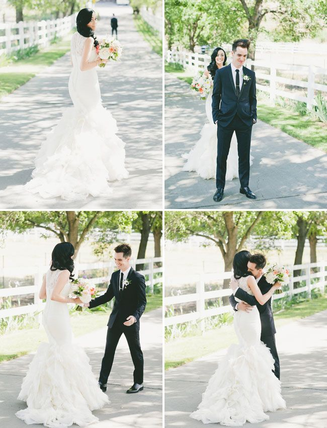 Glamorous Malibu Wedding: Sarah + Brendon Urie.... This is so cute! Love all the photo moments from this wedding.