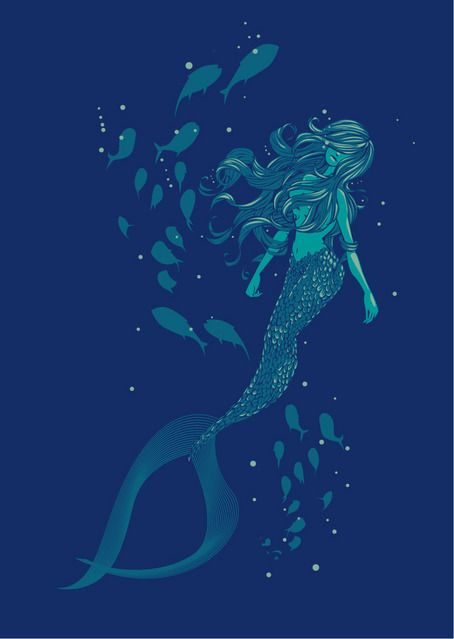 deep blue mermaid water picture and wallpaper