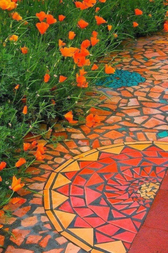 Mosaic pathway and California poppies                                                                                                                                                      More