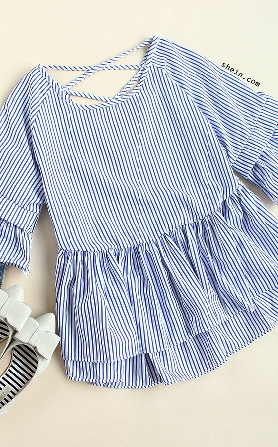 Free Standard Sshipping! Blue Striped Criss Cross Back Ruffle Blouse