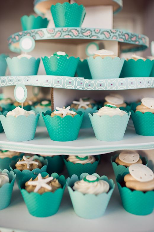 beaCH WEDDING CUPCAKES | beach wedding cupcake ideas « Couture Cupcakes by Dress My Cupcake™
