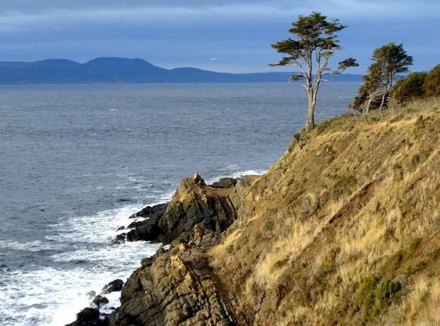 Fuerte Bulnes. View from the Fort on Santa Ana Point overlooking the Strait of Magellan. In the background are the shores of Tierra del Fuego Island.