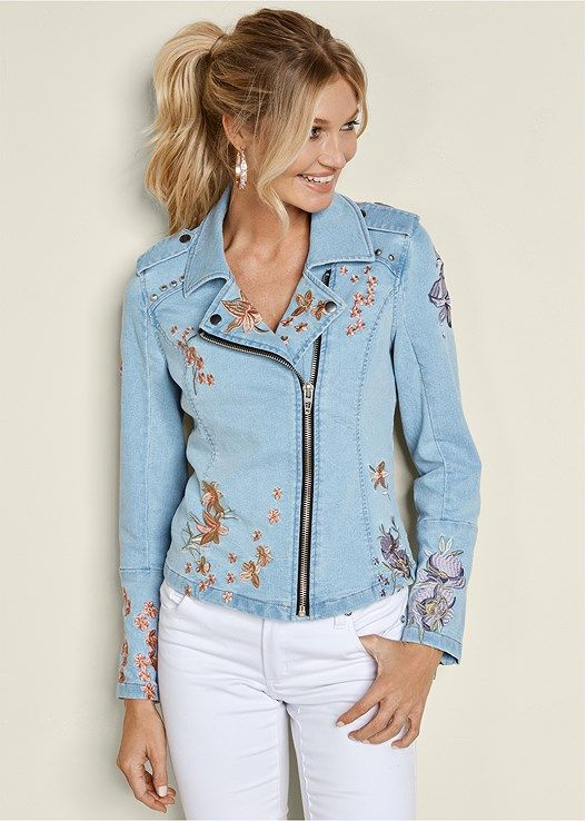 Floral is our favorite this season. Especially, on this embroidered, jean moto jacket! The zipper adds daring style to this one-of-a-kind jacket.