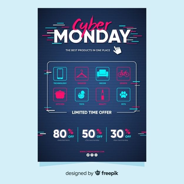 Download Flat Cyber Monday Flyer Template For Free In 2020 Cyber Monday Flyer Flyer Template Flyer