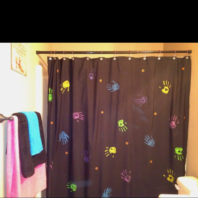 Handprinted shower curtain made with sweet little hands <3