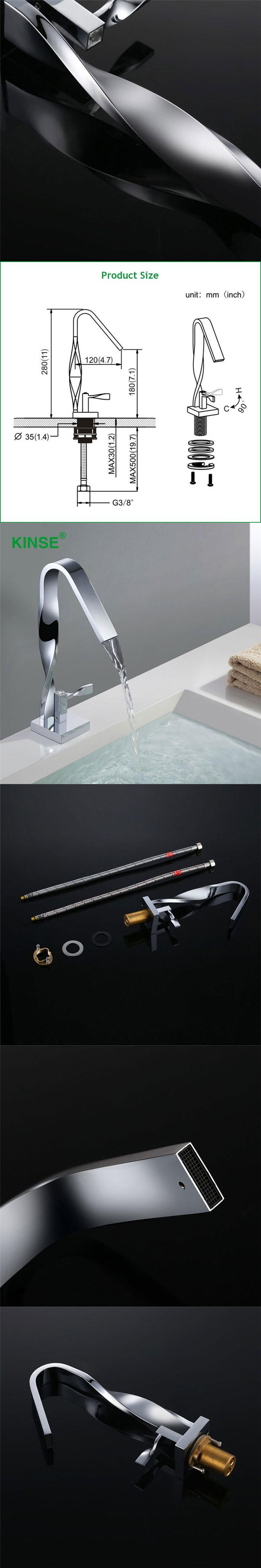 KINSE Art Style Brass Material Chrome Finish Contemporary Bathroom Sink Faucet