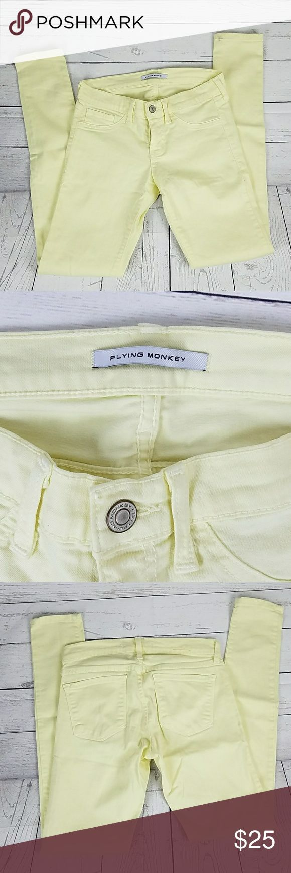 Flying Monkey Jeans Skinny Size 26 These Women's Flying Monkey Jeans are in good condition. Gently used. Skinny. Just needs to be washed. Little dirt on bottom of pant leg. Seen in picture 1. Size 26 Inseam 29 Rise 7 inches Flying Monkey Jeans Skinny