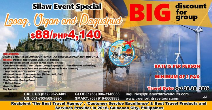 3D2N, Laoag, Vigan & Pagudpud, Philippines, P4,140 ($88)/person, see inclusions, travel date: 28 -30 Oct 2016. Book now!