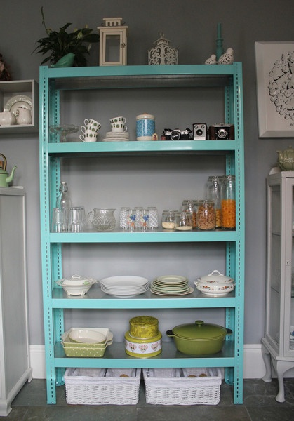 Storage Shelves painted. So much nicer to look at then the silver metal!