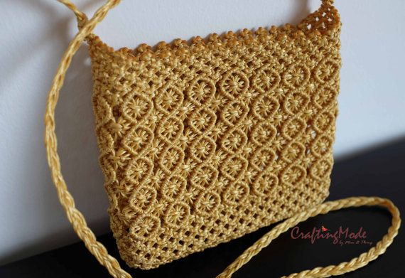 BagMacrameWeaving Basket RopeHandmadeMustard color by CraftingMode