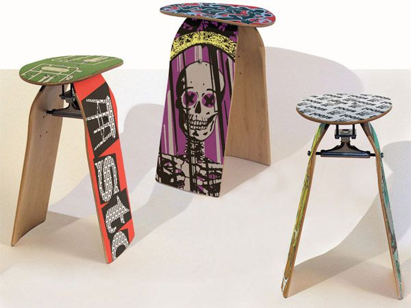 Awesome stools made out of old skateboards   The Great Manifest