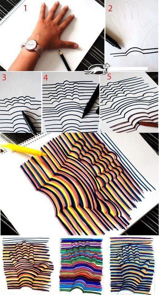 Hand-tekening in 3D! Cool idee!
