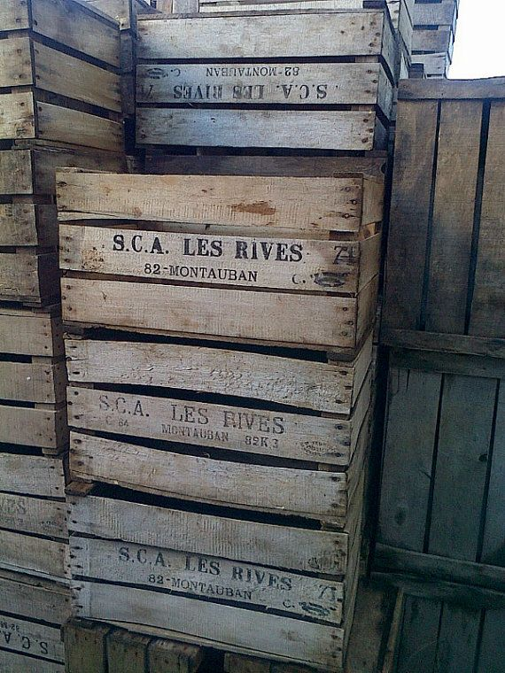 Authentic french apple crate rustic vintage by for Wooden fruit crates