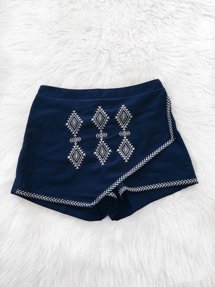 Scarlett Embroidered Angular Skirt (Navy)