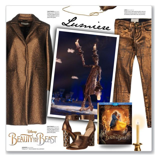 """Disney's 'Beauty and the Beast': Lumiere"" by kellylynne68 ❤ liked on Polyvore featuring Current/Elliott, L'Autre Chose, Disney, B Brian Atwood, BeautyandtheBeast, contestentry and lumiere"