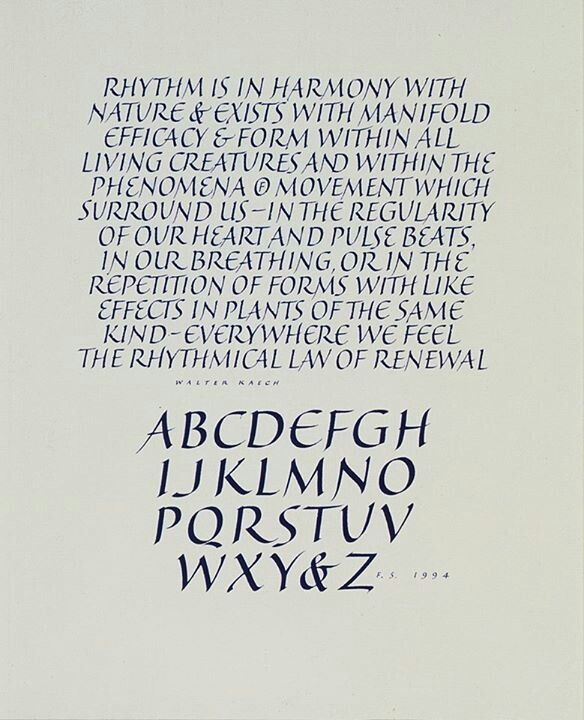 Calligraphy by Fred Salmon.  VERY GOOD!