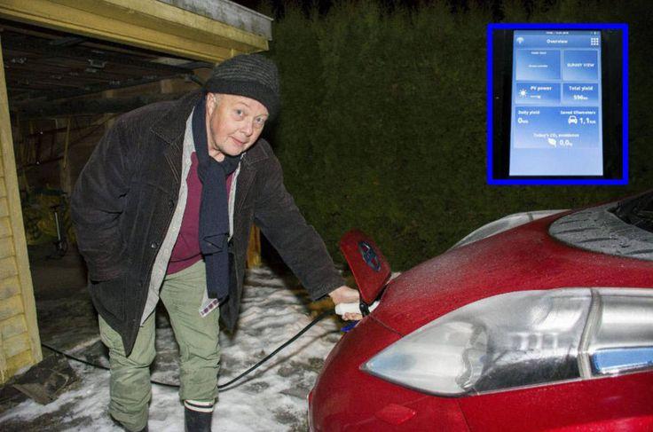 Ketil Bilberg liker tanken på å kjøre rundt i en elbil drevet av egenprodusert solstrøm. – Det ligger en positiv psykologi i den tanken, mener askimingen. Solcelle panelene vil produsere omtrent dobbelt så mye strøm som elbilen bruker årlig.