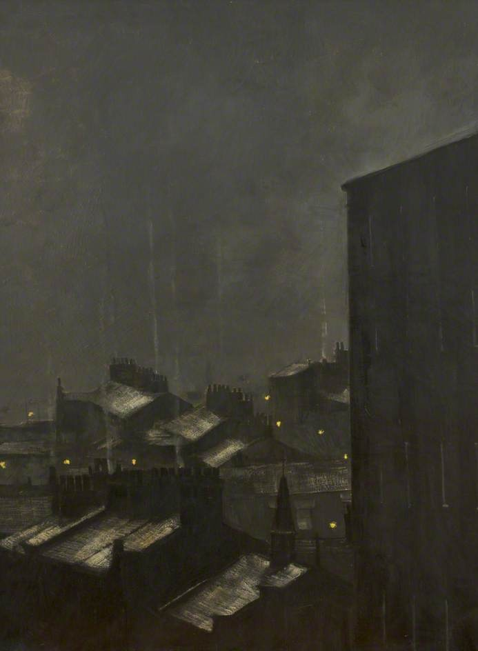 Night and Rooftops, 1977, Harold Riley. Oil on canvas, 60 x 45 cm. University of Salford, Manchester, UK.