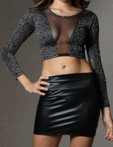 WOMENS METALLIC MESH INSERT LONG SLEEVE SILVER CROP TOP
