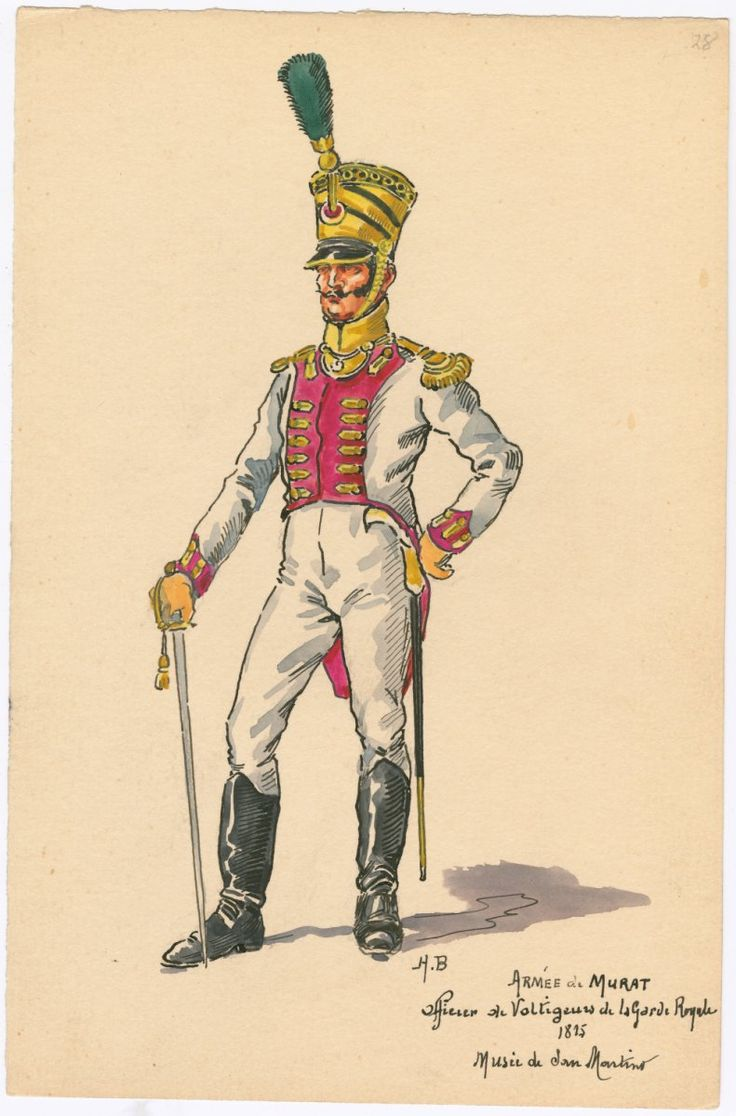 Kingdom of Naples; Voltigeurs of the Royal Guard, Officer, 1815 by H.Boisselier