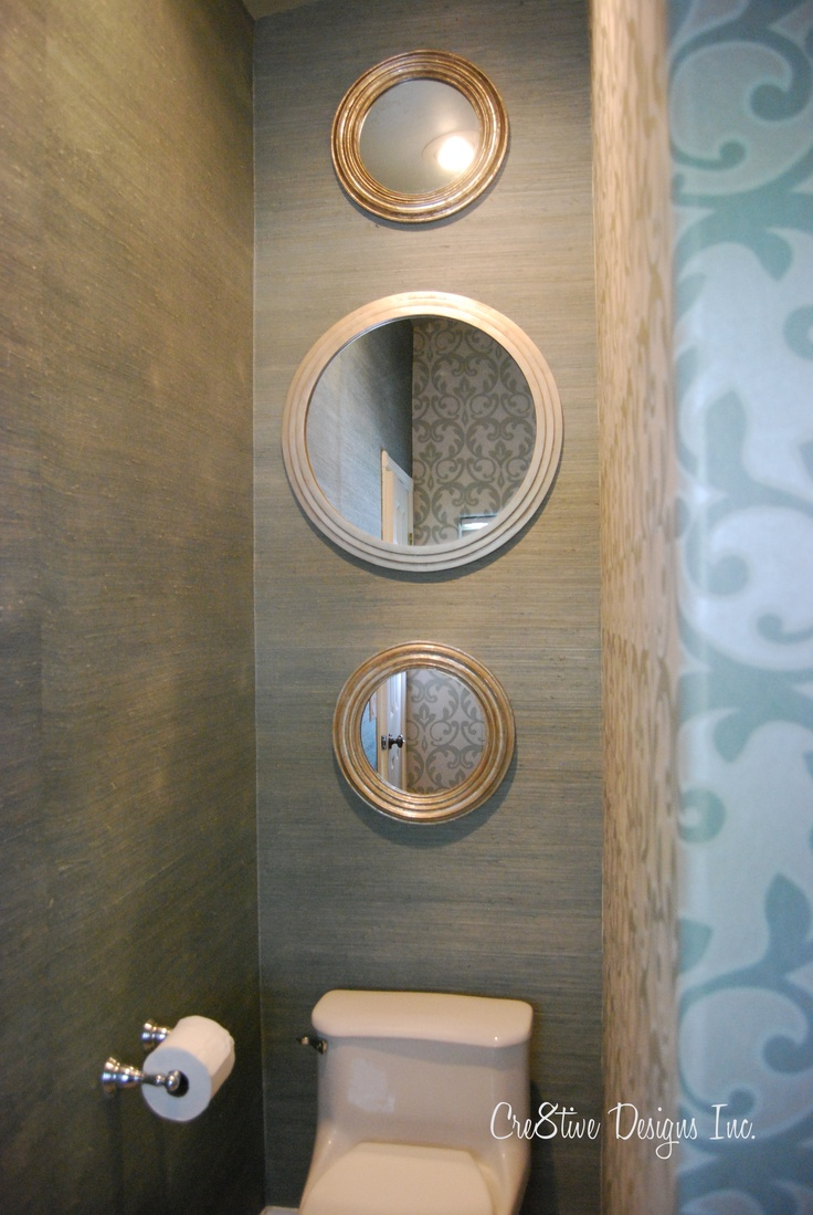 Textured walls simple mirrors great idea for my small for Textured wallpaper for bathroom