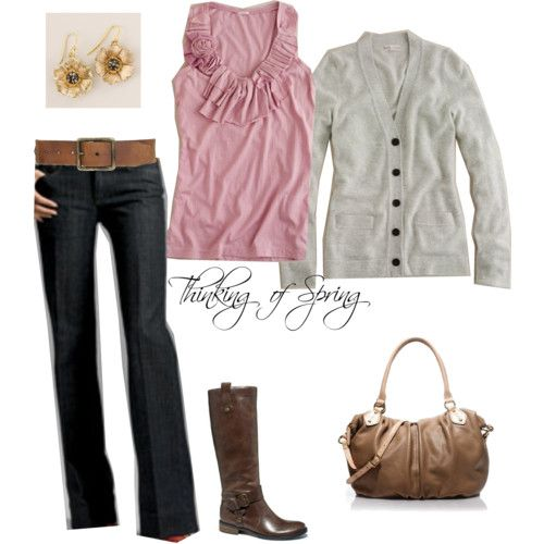 JCrew: Idea, Style, Outfit, Jeans The Pink, Dark Jeans, Polyvore, Pink And Gray, Boots, Shirt