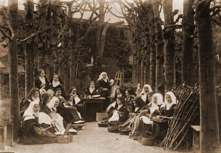 Easter 1895 in the Carmel of Lisieux. St. Therese is standing on the left, next to her sister Marie.