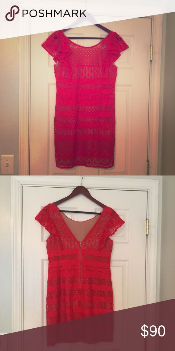 BCBG MAX AZRIA Red Lace Cocktail Dress size 8 Red Lace Cocktail Dress worn once. Very flattering and lined with a nude slip vet will taken care of and hit me right above the knees (I'm 5'1) BCBGMaxAzria Dresses Mini