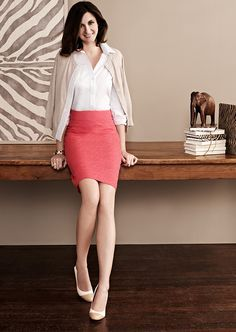 Coral Pencil Skirt White Blouse Beige Cardigan Sheer White Pantyhose and White and Beige High Heels