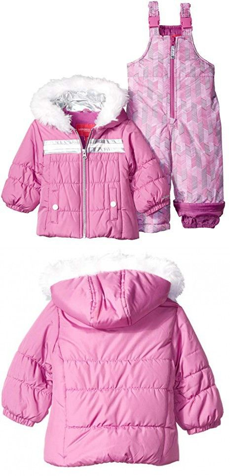45d6504c3 London Fog Baby Girls  Snowsuit with Snowbib and Puffer Jacket ...