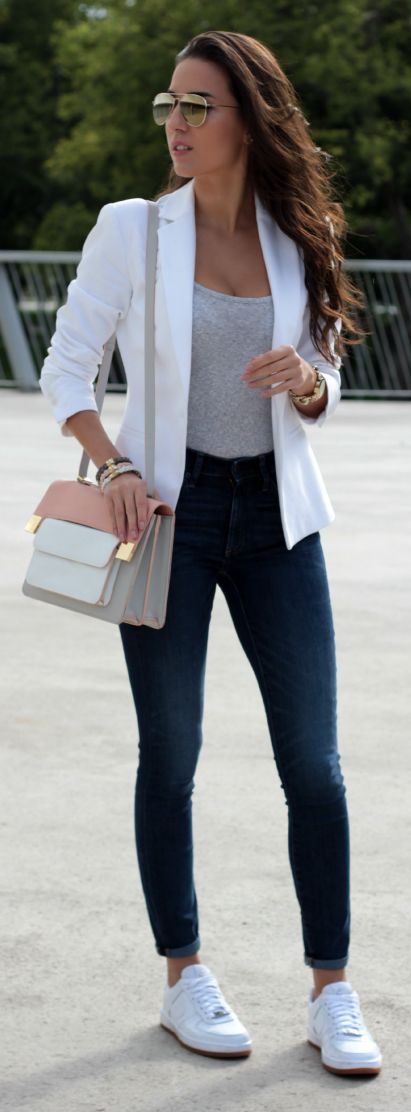 White Blazer Gray Fitted Tank Denim Skinnies White Sneakers Fall Inspo by Style and Blog