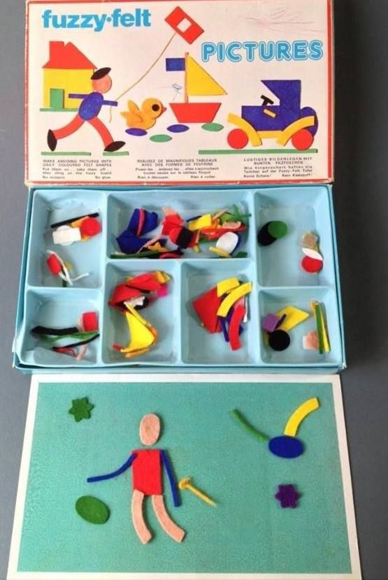 fuzzy felts!...LURVE  fuzzy felts.. you'd get them stuck on your socks and cardi sleeves..hahaha.. great little game ..lots of different sets too.