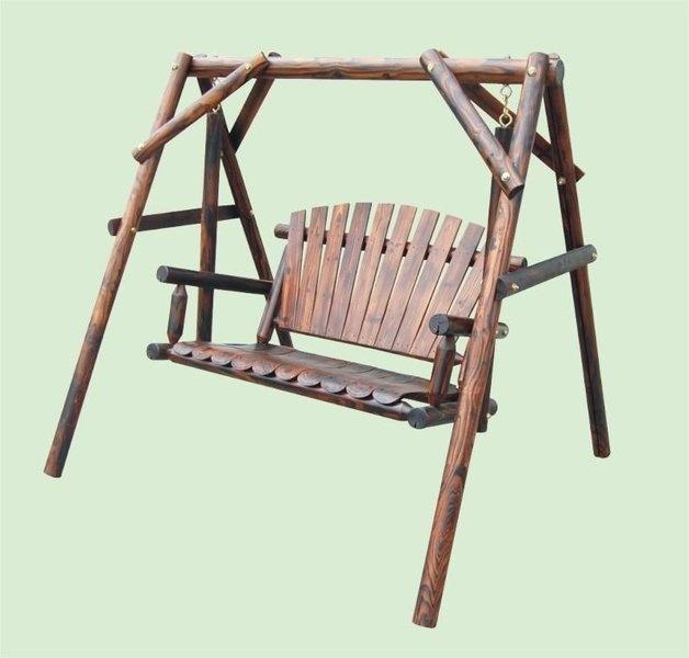 Rustic wooden swing for garden balanc n r stico de for Balancin madera jardin