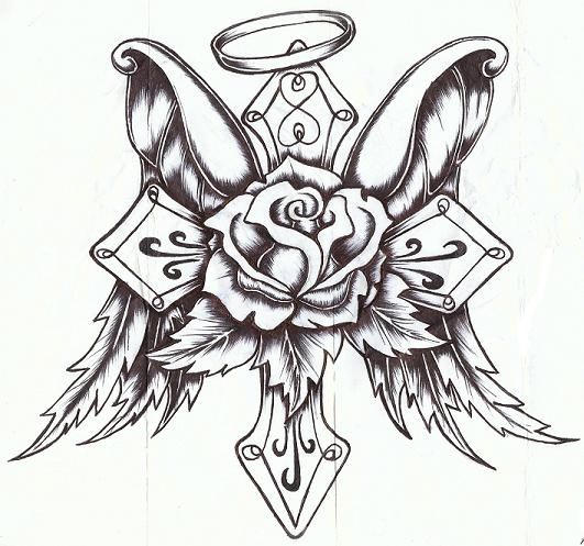 sketches of crosses Roses And Crosses Drawings Pictures