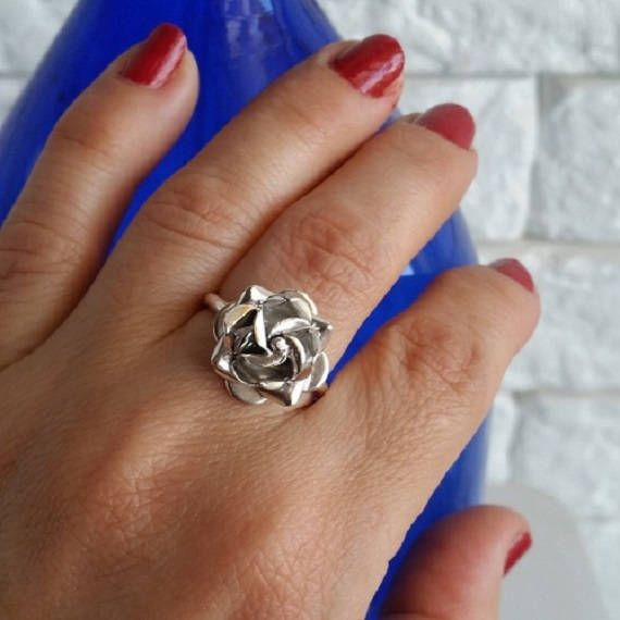 Check out this item in my Etsy shop https://www.etsy.com/il-en/listing/514900254/rose-ring-sterling-silver-flower-ring