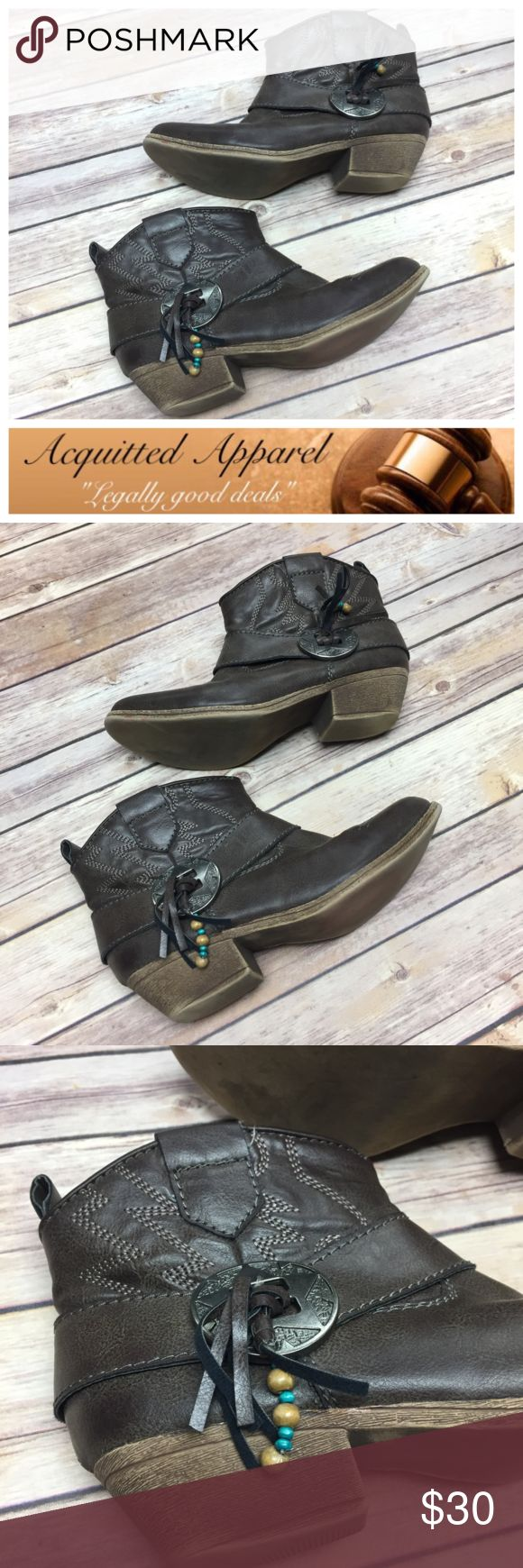 (Big Buddah) Leather Look Booties with Accents Side zip with suede and coin accents on the side sthese leather looking booties by Big Buddah are a wardrobe must for the fall. Excellent pre loved condition only a couple of minor scuffs. Big Buddha Shoes Ankle Boots & Booties