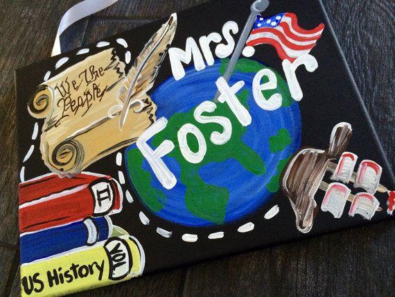 Teacher Door Sign Hanger  History Teacher Door by MelanieLupien