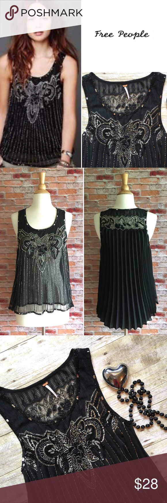 "Free People pleated embellished Black Top Semi-sheer beaded front with a beaded and pleated back. High low cut. In excellent condtion, missing a few beads on the back, hardly noticeable. Closure in pics. Otherwise flawless condition. 24""L in front, 28""L in back. 17"" bust laying flat. Size small. {Location B10} Free People Tops"
