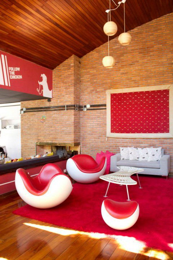 Contemporary Red Couch Decorating Ideas And The Beautiful Interior Furniture:  High Ceiling Living Room Design